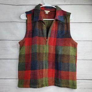 Christopher & Banks Plaid Zip Up Vest Jacket